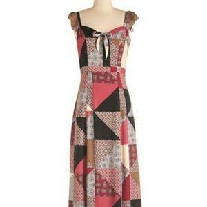 Modcloth Patwork Maxi Slit Dress